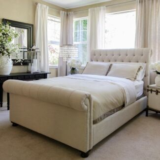Upholstered Sleigh Bed King Size