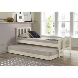 Brand New Oxford Single Guest Bed in Cream - Trundle Bed Included