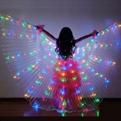 Mädchen Kinder Bauchtanz Kostüm LED Isis Flügel (mit 2 Stöcken) 8 Farben