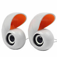White Mini Conch USB Audio Music Player 2 Speaker for Laptop NEW