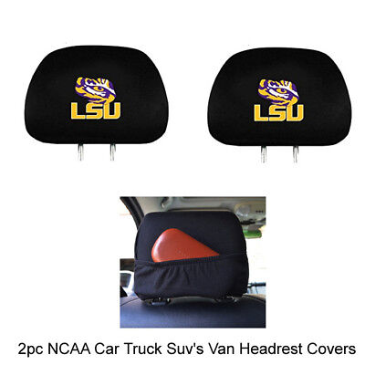 (New NCAA Louisiana State University Tigers Embroidered Headrest Covers Set Of 2)