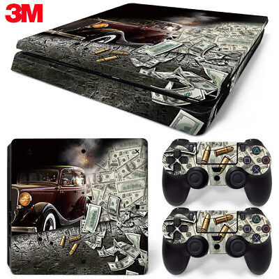 PS4 Slim Playstation 4 Console Skin Decal Sticker Gangster Custom Design Set