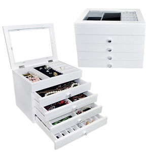 High Gloss View Top Wooden Jewellery Chest