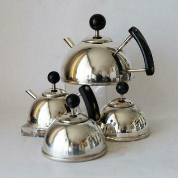 Art Deco Bauhaus koffie thee set (4) - Art Deco - Verzilverd