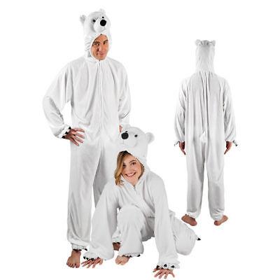 Eisbärkostüm Overall mit Kapuze flauschige Verkleidung für Damen - Flauschige Bär Kostüm