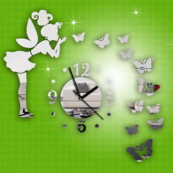 Modern Style Butterfly Fairy DIY Mirror Wall Clock Wall Sticker Home Decor New