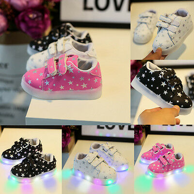 Kids Infant Lighted Sneakers Slip On LED Baby Boys Girl Crib Shoes Soft Trainers