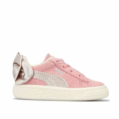 Girl's Puma Infant Suede Bow Elasticated Laces Cushioned Trainers in Pink