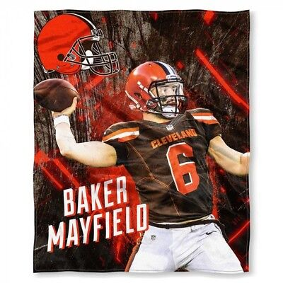 598168b1 NFL Baker Mayfield Cleveland Browns Silk Touch Throw Blanket Size 50