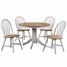 Rhode Island Round Dining Set with 4 Chairs in White and Natural