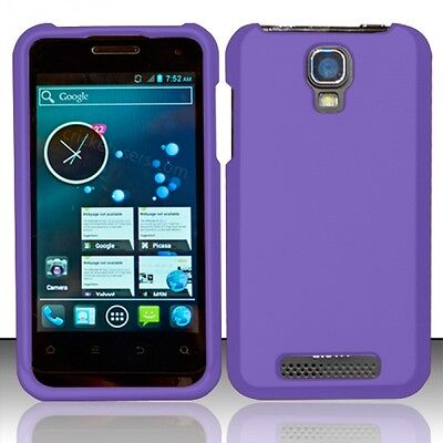 For Cricket ZTE Engage Rubberized HARD Protector Case Phone Cover Dark Purple Dark Rubberized Protector Case