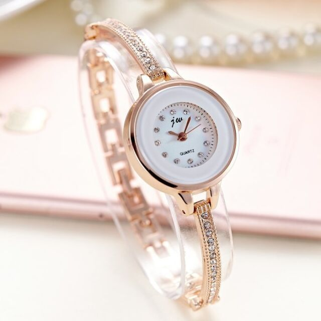 Rose Gold Women's Fashion Dress Rhinestone Slim Bracelet Band Quartz Watches
