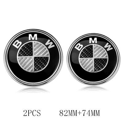 Carbon Fiber Front Hood & Rear Trunk 82mm 74mm BMW Badge Emblem Black/white 2PCS