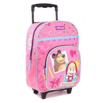 Mascha und der Bär Rucksacktrolley Trolley Rucksack Koffer Kinderkoffer rosa