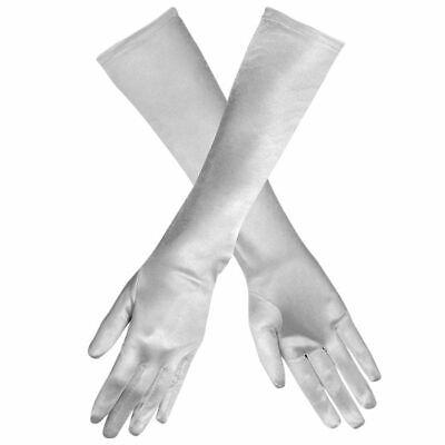 Lange Handschuhe silber glänzend, ideale  Langarmhandschuhe fürs Karnevalskostüm