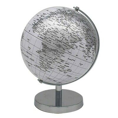 18cm White World Globe Vintage Rotating Atlas Office Desk Ornament Home Decor