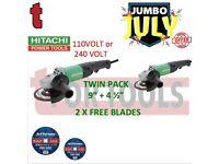 Hitachi Angle Grinder Twin Pack 230mm & 115mm 240volt + free Blades