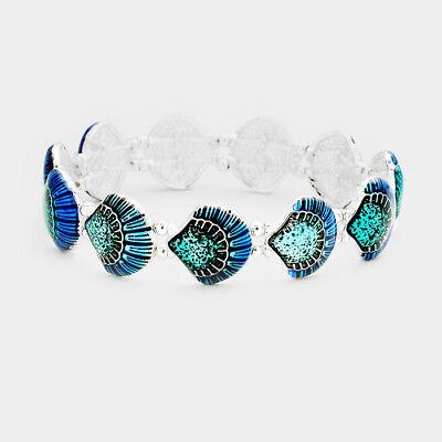 (Sea Shell Bracelet Stretch Bangle Starfish Beach Jewelry BLUE Enamel SILVER)