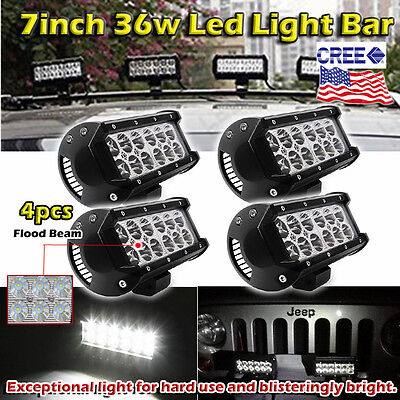 4x 7inch 36w CREE LED Light Bar Work Flood Offroad Driving Bumper SUV Truck Jeep