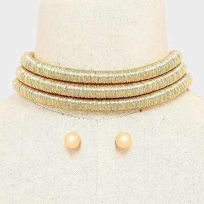 Multistrand 3 Row Cord Choker Adjustable Gold Metallic Necklace Celebrity