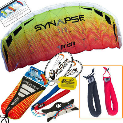 Prism Synapse 170 Mango Foil Power Parafoil Stunt Kite + Padded Straps Accessory