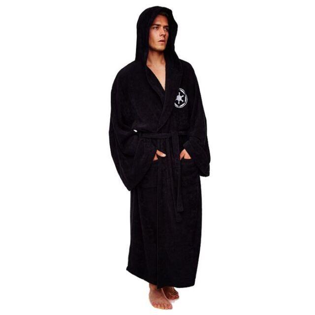 Official Star Wars Galactic Adult Fleece Dressing Gown Bathrobe Hooded - Black