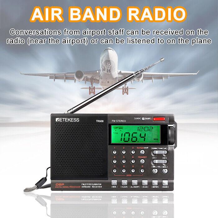 Retekess TR608 Portable Air Band/FM/MW/SW Radio Receiver Alarm Tuning for Airpor