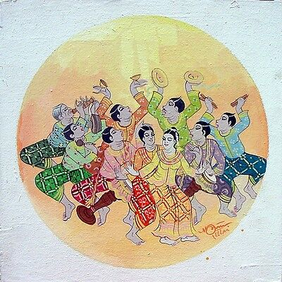 Thai Art Long drum performance ACRYLIC HAND PAINTED ON CANVAS Home Decoration