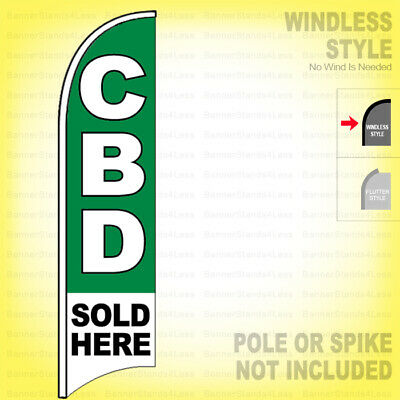 Cbd Sold Here - Windless Swooper Flag 2.5x11.5 Ft Feather Banner Sign Gb