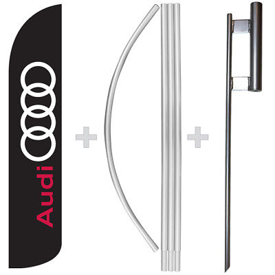 Audi 15 Tall Windless Swooper Feather Banner Flag Pole Kit