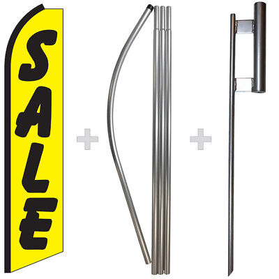 Sale Yellowblack 15 Tall Swooper Flag Pole Kit Feather Super Bow Banner