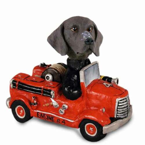 German Shorthaired Pointer on a Firetruck Stone Resin Figurine Statue