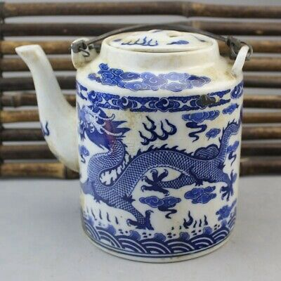 Blue and White  Teapot Chinoiserie Pattern