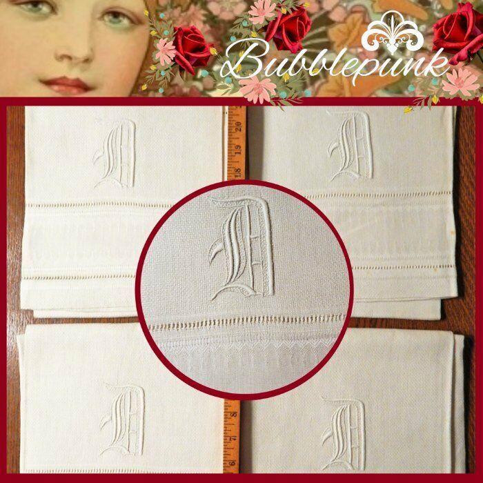 Vintage Antique Huck Linen Damask Embroidered Initial D Butler Guest Towel Set/4