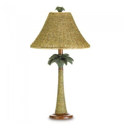Palm Tree Table Decorations (Table Lamp, Polyresin Rattan Palm Tree Decorative Bedroom Bedside Table)