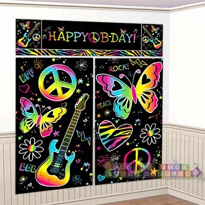 Neon Doodle Party Supplies (NEON DOODLE WALL POSTER DECORATING KIT (5pc) ~ Birthday Party Supplies)