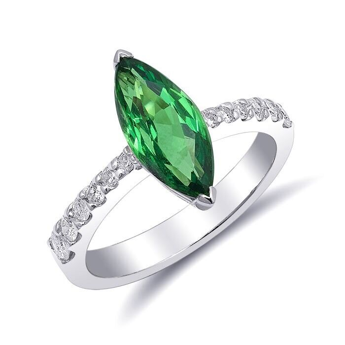 Ring With Natural Green Tsavorite 2.29 Carats And Diamonds Set In 18k White Gold