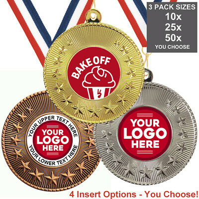 BAKE OFF COOKERY METAL MEDALS, PACK OF 10, RIBBONS, INSERTS or OWN LOGO & TEXT ()