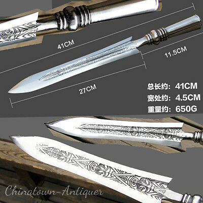 Spearhead Spear Bayonet sword Hand Forged Chrome Hardened Steel sharp #2318
