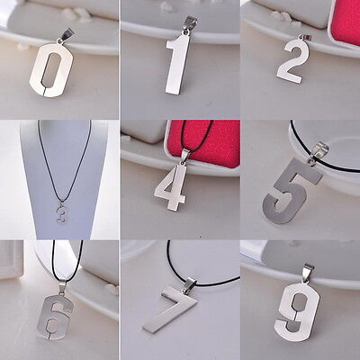 Lover Leather (Stainless Steel Leather Necklace Pendant Lover Number 1 2 3 4 5 6 7 8 9)