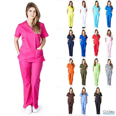 как выглядит Медицинский костюм Womens Mock Wrap Medical Hospital Nursing Clinic Scrub Set Uniform Top & Pants фото