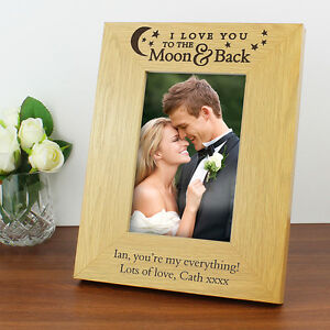 Personalised I LOVE YOU TO THE MOON AND BACK Wood Picture Photo Frame