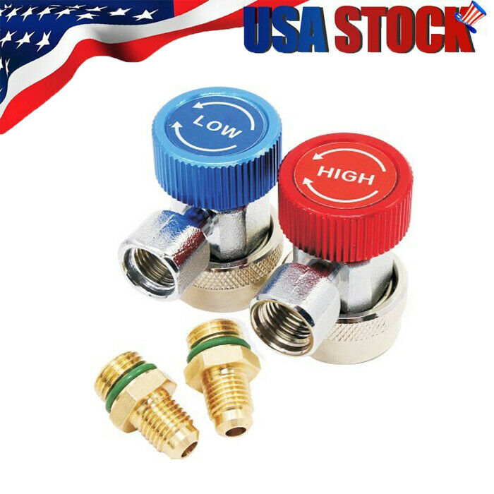 2x R134A Quick Connector Adapter Coupler Auto A//C Manifold Gauge Low//High HVAC