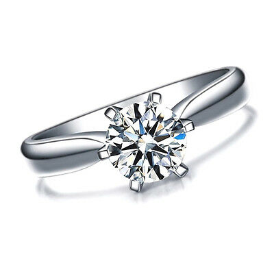 Womens 1 Carat CZ Ring band created Brilliant Cut Single 1ct - WHITE GOLD