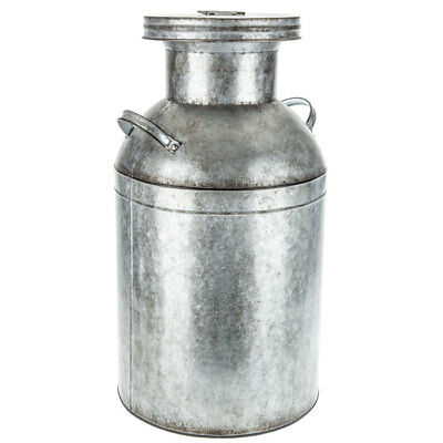 Metal Milk Can Distressed Galvanized w/ Handles Large Rustic Home Accent Decor