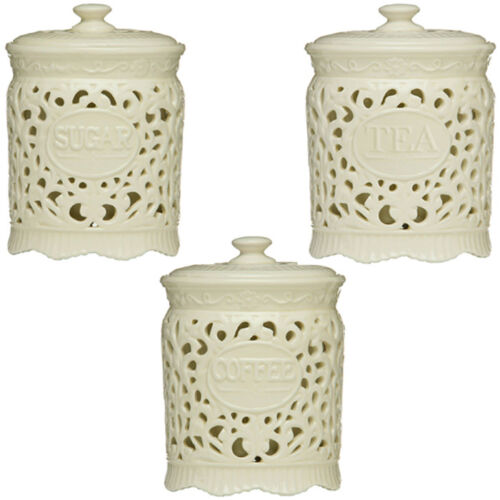 Cream Kitchen Storage Jars: Tea Coffee Sugar Cream Ceramic Lace Canister Jar Great For