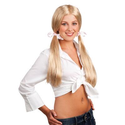 Perücke Schoolgirl blond mit rosa Schleifen     (Rosa Perücke Mit Schleife)
