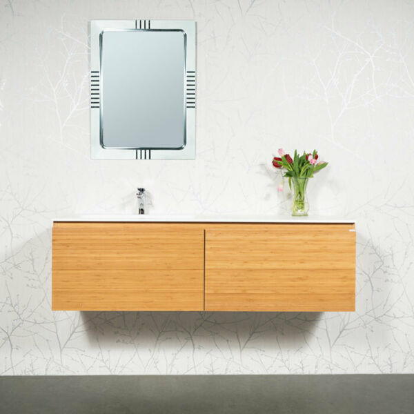 "Bathroom Vanity Bamboo 59""Wall Hung with Mirror and Faucet ..."