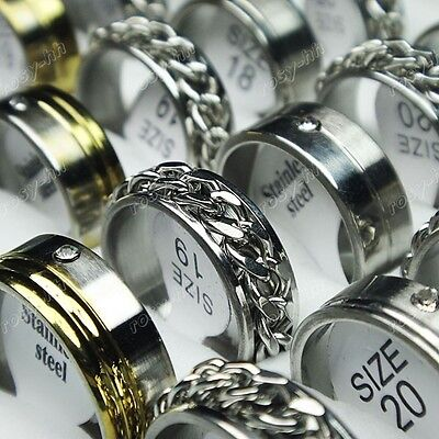 Free shipping 50pcs Wholesale Jewelry Lots Stainless steel Rhinestone Mix Rings on Rummage