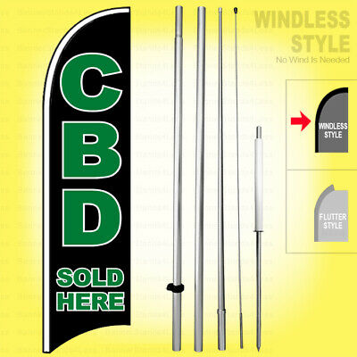 Cbd Sold Here - Windless Swooper Flag Kit 15 Feather Banner Sign Kb-h